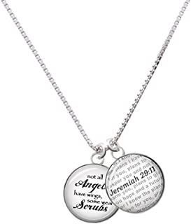 Silvertone Domed Angels Wear Scrubs - Bible Verse Jeremiah 29:11 Glass Dome Necklace, 18