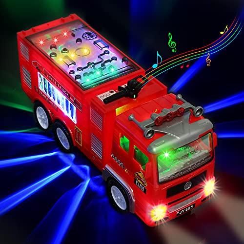 Xruison Camion Pompieri Giocattolo con 4D LED Luci e Suoni, Grande Camioncino Giocattolo Autopompa...