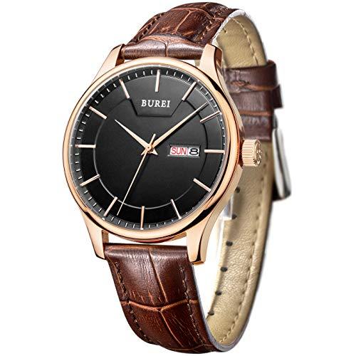 BUREI Männer genaue Quarz-Armbanduhren mit Tag und Datum Kalender Rose Gold Hände schwarzes-dial braun Lederband