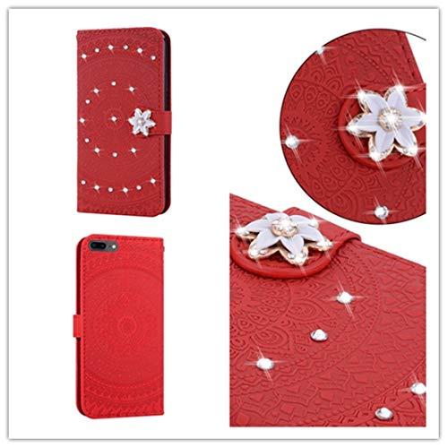 Wdckxy - Funda de teléfono para iPhone 6 Plus, impresión prensada, diseño de taladro, con tapa horizontal, de piel sintética, con soporte, ranuras para tarjetas, cartera y cordón (color: rojo)