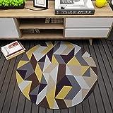 Morbuy Felpudos Alfombra 80 * 80CM Raya Geometría Fácil de Limpiar Niños Salón Dormitorio Hogar Pad para Habitación Lavable (Geometría Amarilla)