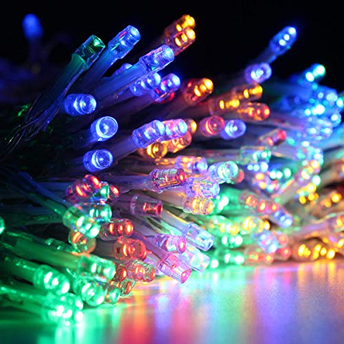 shuai Fairy Lights,Solar Powered Waterproof Two Installations 300 LEDs Fairy Curtain String Light for Christmas Festive Atmosphere (Color : RGB)