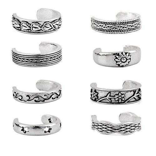 8 piezas retro anillo de playa anillo pie anillo de apertura única dedo dedo dedo anillo pie joyería útil y práctica