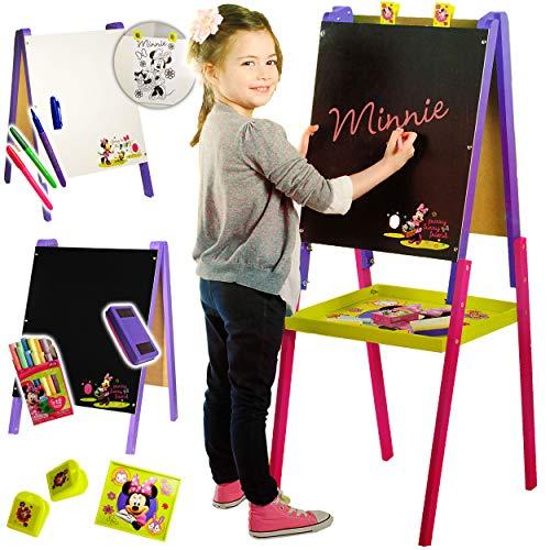 alles-meine.de GmbH 3 in 1: Schreibtafel / Maltafel / Staffelei - Holz - Disney - Minnie Mouse - 1,10 m hoch - doppelseitig - Kindertafel / Kreidetafel / Whiteboard - Clipboa..