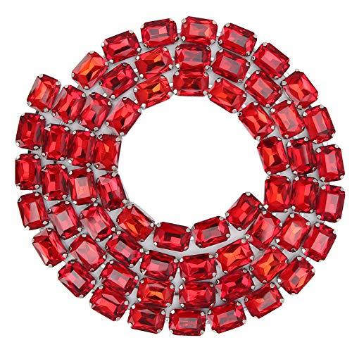 Allsor Cadena de Diamantes de imitación, artesanía de decoración, Cadena de Garra de Costura, WeddingParty para decoración navideña(Big Red)