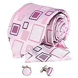 Y&G H5013 rosa a cuadros para hombre perfecto regalo para los padrinos de boda corbatas de seda Gemelos Hanky ??Set 3PT