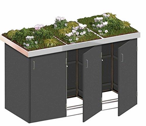 BINTO Mülltonnenbox HPL schiefer System 3P - für 3 Mülltonnen inkl. Pflanzschalen