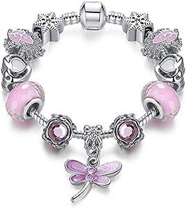 A TE® Charm Pulsera Mujer Rosa Cristales Plata Búho con Letras Regalos Amor #JW-B12