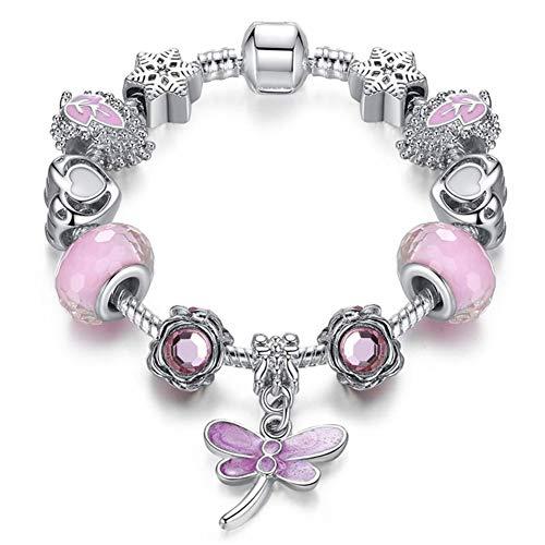 A TE Charm Pulsera Mujer Rosa Cristales Plata Búho con Letras Regalos Amor #JW-B12