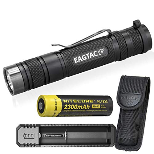 EagleTac (EAGTAC) D25LC2 MKII Clicky 1480 LED Lumens LED Flashlight with LumenTac Rechargeable Set
