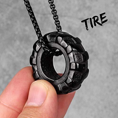 Collar De Hombre Tire Fitness Gym Gold Hombres Collares Largos Colgantes Cadena Hip Hop para Niño Hombre Joyería De Acero Inoxidable Creatividad Regalo N331-Blacktire