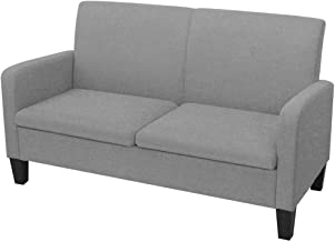 vidaXL 2-Seater Sofa 135x65x76cm Light Grey Couch Lounge Living Room Furniture