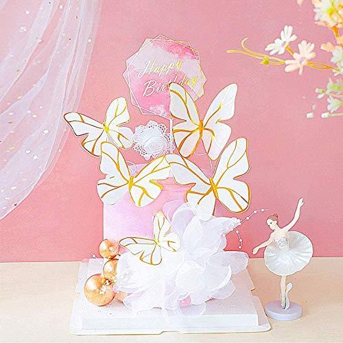 Micacorn Mariposas Decoracion Tarta Cumpleaños,6 piezas Mariposas Decorativas Cake con Happy Birthday Topper Decoraciones de fiesta para Cake para Fiestas de Cumpleaños, Baby shower, Bodas(Butterfly)