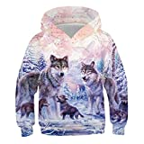 KYKU Wolf Hoodie for Girls 3D Print Pink Wolves Sweatshirt for Kids Boys Teen Pullover Sweatshirts 6-16 Years with Pocket (Small,Pink)