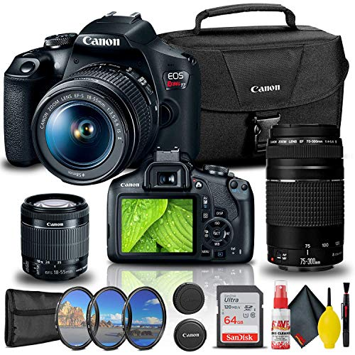 Canon EOS Rebel T7 DSLR Camera with 18-55mm and 75-300mm Lenses + Creative Filter Set, EOS Camera Bag + Sandisk Ultra 64GB Card + Cleaning Set, and More (Renewed)