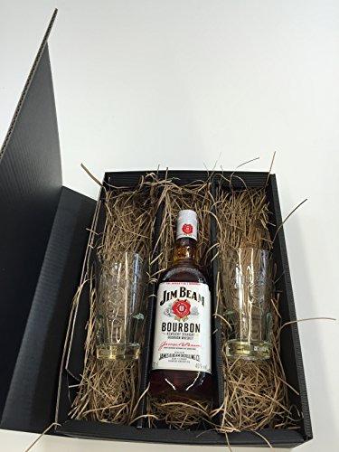 Jim Beam Bourbon Set/Geschenkset - Jim Beam Bourbon 0,7l 700ml (40% Vol) + 2x Bourbon Gläser