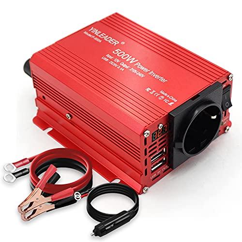Convertisseur 500W 12V 220V Convertisseur de Tension Double USB Power Inverter DC 12V AC 230V, Onduleur Transformateur avec Allume Cigare Prise Electrique