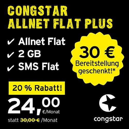 congstar Allnet Flat Plus [SIM, Micro-SIM und Nano-SIM] monatlich kündbar (24,00 Euro/Monat, 2 GB Datenflat mit max. 21 Mbit/s, Allnet Flat in alle dt. Netze) in bester D-Netz-Qualität
