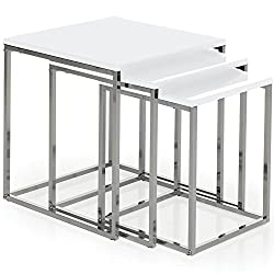 Product Colour: White Product Size: Large Table: H 42 x W 40 x D 40 Cm Approx. Medium Table: H 39 x W 35 x D 35 Cm Approx. Small Table: H 37 x W 30 x D 30 Cm Approx. Product Material: MDF, Chrome Product Cleaning Instructions: Wipe With A Dry Cloth P...