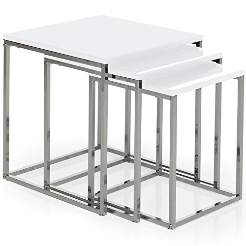 Vida Designs Aztec Nest of Tables, White Gloss Square Chrome Modern Living Room Furniture, Wood