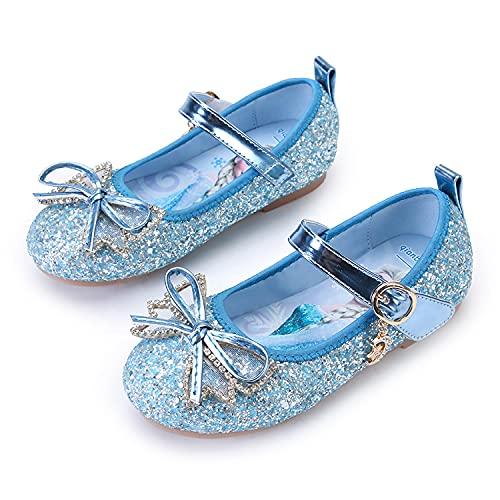 Eleasica Zapatos Planos sin Tacones Decorados con Lazo Brillante, Plantilla Dibujo Princesa Elsa, Zapatillas Colores Azul, Rosa, Plateado Calzado para niña niña de 3 a 12 años, Talla 24 a 34
