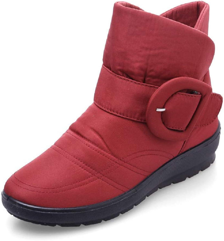 Gaslinyuan Damen Wasserdichte Knöchel Schnalle Slip auf Flache Stiefel Stiefel Stiefel (Farbe   Rot, Größe   EU 37)  0753ed