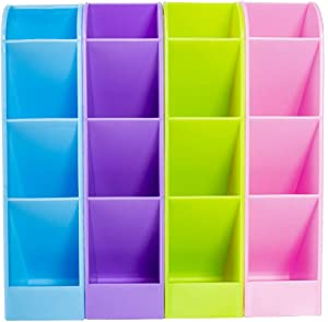 4 Pack Desk Pencil Organizer - Caddies for Office/Teacher/School Supplies/Markers/Gel Pens/Paint Brushes Storage Holder Racks - 4 Colors 16 Compartment