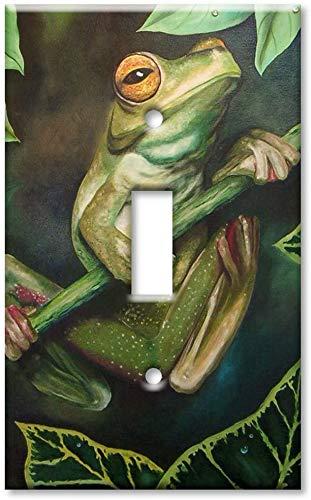 Placa decorativa para interruptor de luz – Placa de interruptor de sobredimensiones/placa de pared de tamaño superior – rana de árbol de ojos amarillos