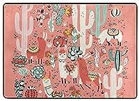 フロアマット 大判,ピンクの素敵な花とサボテンとサボテンジャングルの幸せなラマ 新年の部屋の装飾 フローリング/畳/床暖房対応(213×152cm 厚1.5mm)
