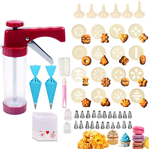 Cookie Press 150PCS Cookie Press Gun with 16 Spritz Mold Decorative Stencil Discs,22 Icing Tips,100 Cookie bags,2 EVA bags for Cookies,Biscuit,Macaroon,Churro Maker for DIY Cookie Maker Decorating