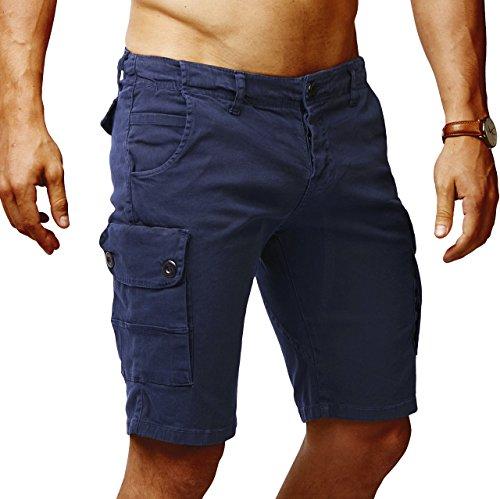 Leif Nelson Herren Cargo Hose Shorts Sommer Kurze Hose Chino Bermuda Stretch Slim Fit LN1345; W29; Dunkel Blau