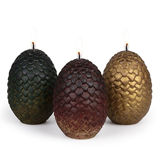 "Game of Thrones Sculpted Dragon Egg Candles, Set of 3 - Perfect for GoT Fans - 2 1/2"" each"