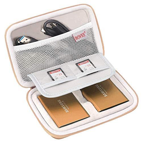 Bolsa de transporte BOVKE 2 em 1 para Samsung T5 T3 T1 portátil 250 GB 500 GB 1 TB 2 TB SSD USB 3.1 Tipo C Disco rígido externo de estado sólido, ouro