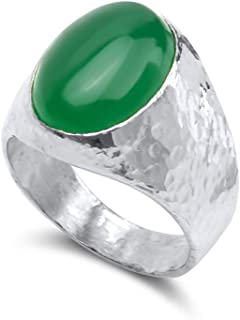Wyoming apple green jade lost wax sterling silver ring Size 7