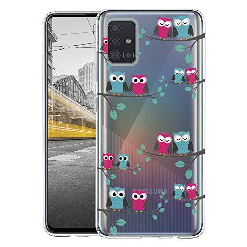 KX-Mobile Hülle für Samsung A51 Handyhülle Motiv 2017 Eule Eulen Premium Silikonhülle durchsichtig mit Bild SchutzHülle Softcase HandyCover Handyhülle für Samsung Galaxy A51 Hülle