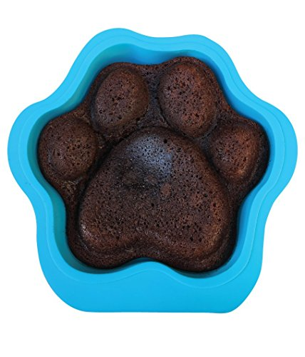 Win&Co Puppy Paws and Bones Large Paw Edition Silicone Dog Paw Shape Cake Pan 12X11X2.5 Inches