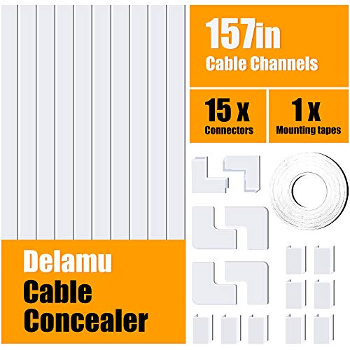 One-Cord Cable Concealer, 157in Cord Cover, PVC Wire Molding, Paintable Wire Channel to Hide a Single Power Cord, Speaker Wire or TV Cables in Home or Office - 10X L15.7in, W0.59in, H0.4in