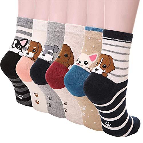 Kfnire Mujer 3D calcetines de pintura animal que tejen calcetines de lana de lana, 4 pares / 5 pares / 6 pares (6 pares Perro)