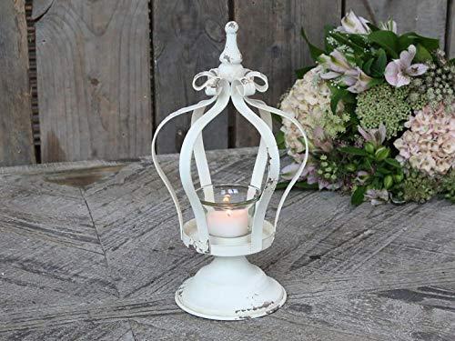 Chic Antique Teelicht Krone auf Fuß Teelichthalter Kerzenleuchter antik Creme Shabby