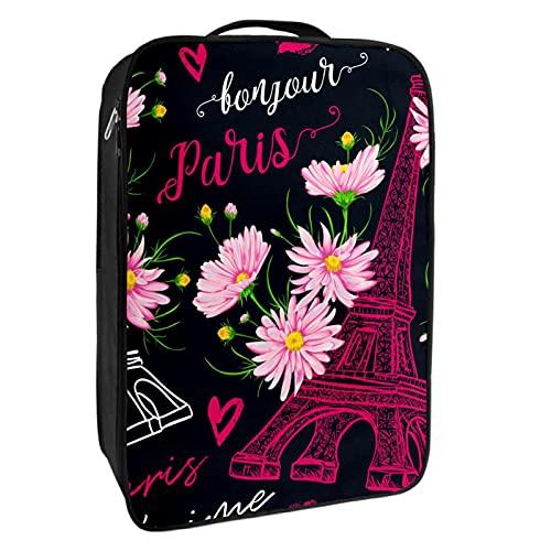 Caja de almacenamiento para zapatos de viaje y uso diario París Torre Eiffel Negro, organizador portátil impermeable hasta 12 yardas con doble cremallera 4 bolsillos