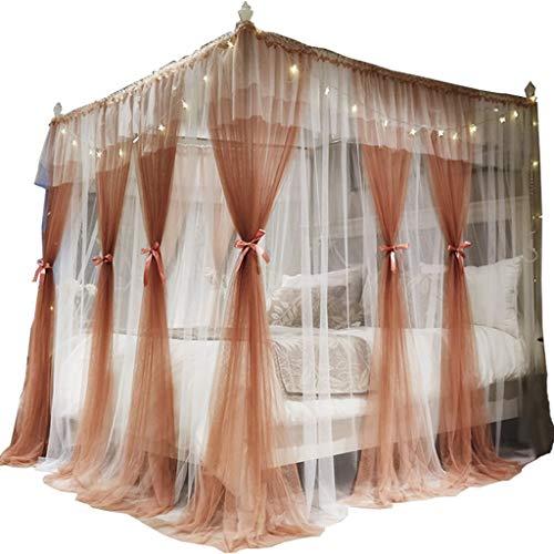 Xinxinchaoshi 4 Eckbett Markise Vorhang Moskitonetz Bettrahmen Vorhang Schlafzimmer Dekoration (Color : Gray, Größe : Suitable for 2.0 * 2.2m)