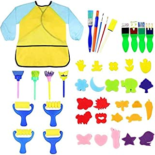 Kids Early Learning Sponge Painting Brushes Kit, 42 Pieces Sponge Drawing Shapes Painting Craft Sponge for Toddlers Assort...