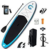 FunWater All Round Paddle Board 11'Length 33' Width 6' Thick Inflatable Sup with Adjustable Paddle,ISUP Travel Backpack,Leash,High Pressure Pump w/Gauge and Water Proof Phone Case