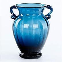 DPWH Glass vase ornaments living room/home decorations ears (Color : Blue, Size : S.9.3cm*17cm.5)