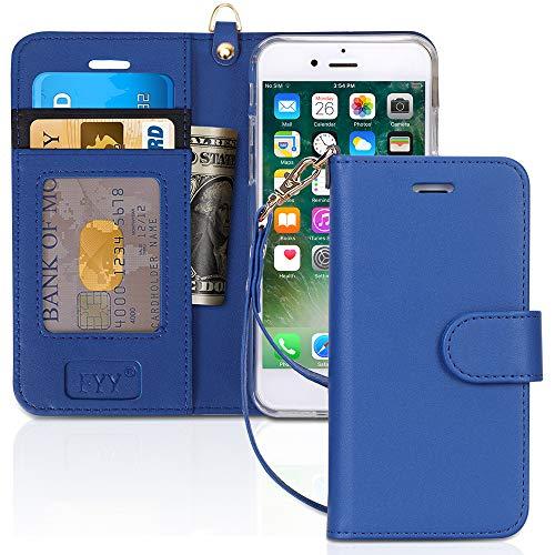 FYY Cover iPhone 8,Custodia iPhone 7,Cover iPhone 7,[RFID Blocco Portafoglio] Flip Custodia Portafoglio in PU,[Funzione Staffa]con Slot per Schede e Chiusura Magnetica per iPhone 7 8 SE 2020-Blu