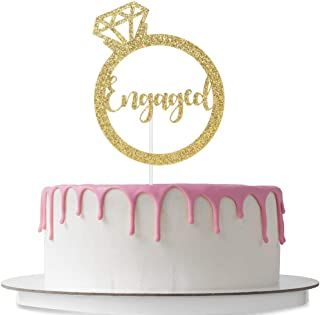 Engaged Cake Topper with Ring, Marriage Party Decoration, Bridal Shower, Wedding Party Supplies, Double Sided Gold Glitter