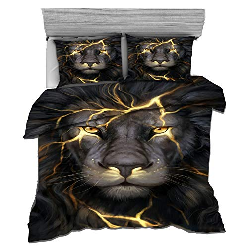 QXbecky Fantasy Animal Black Panther Wolf red Deer Dragon Digital Printing 3D Brushed Bedding 3-Piece Quilt Cover Pillowcase