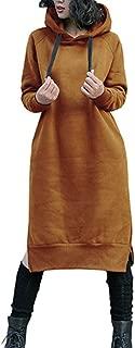 Women's Thickening Long Fleece Sweatshirt String Hoodie Dress Pullover Plus Size
