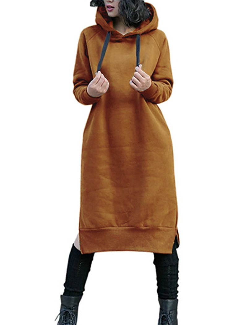 Sweater Dress - Women's Faux Fur Oversized Loose Long Pullover Sweater Dress With Pockets