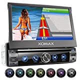 XOMAX XM-DN763 Autoradio mit Mirrorlink, GPS Navigation, Navi Software, Bluetooth Freisprecheinrichtung, 7 Zoll / 18cm Touchscreen Bildschirm, RDS, DVD, CD, USB, SD, AUX, 1 DIN